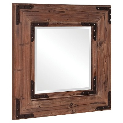 Square Caldwell Decorative Wall Mirror Brown - Howard Elliott