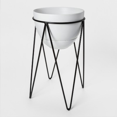 21.6  x 15.7  Ceramic Planter With Metal Stand White/Black - Project 62™
