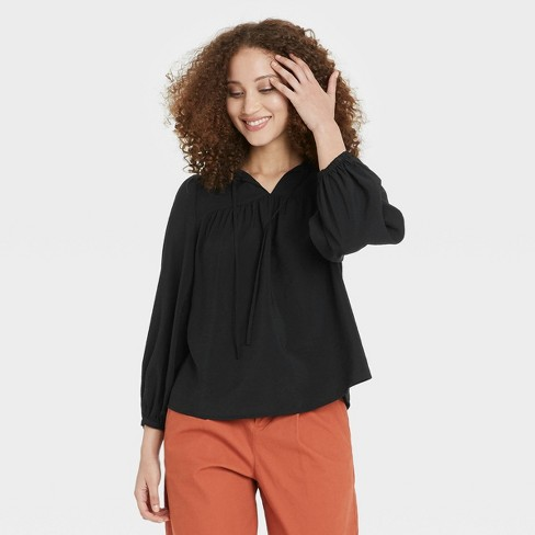 Women's Balloon Long Sleeve Blouse - A New Day™ - image 1 of 3