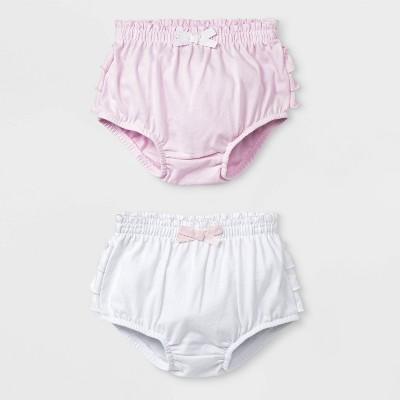 Baby Girls' 2pc Ruffle Bloomer Pull-On Shorts - Cat & Jack™ Pink/White 0-3M
