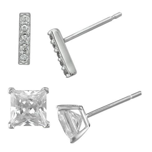 Women's Silver Plated 2 Pair-Cubic Zirconia Square Stud/Cubic Zirconia Small Bar Earring Set-White - image 1 of 1