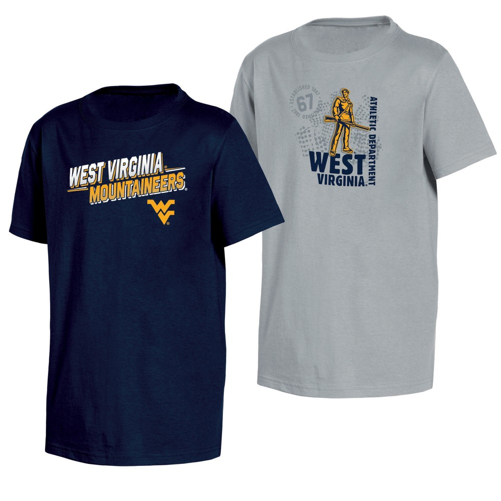 West Virginia Mountaineers Double Trouble Toddler Short Sleeve 2pk T-Shirts 3T, Toddler Boy's, Multicolored