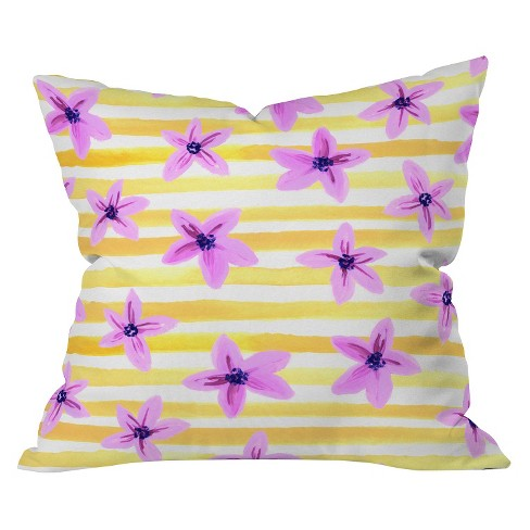 Yellow Pansy Blooms On Stripes I Throw Pillow - Deny Designs® - image 1 of 1