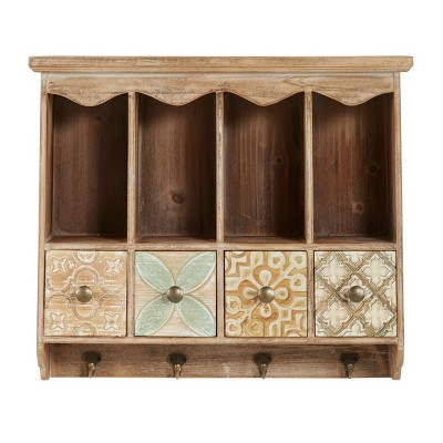 """23"""" x 20"""" Farmhouse Wooden Wall Shelf with Drawers and Hooks - Olivia & May"""