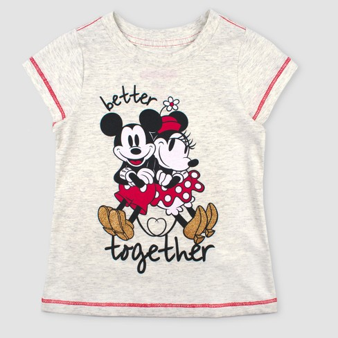 63fa16aeb Toddler Girls' Disney Minnie Mouse and Mickey Mouse Short Sleeve T-Shirt -  Beige