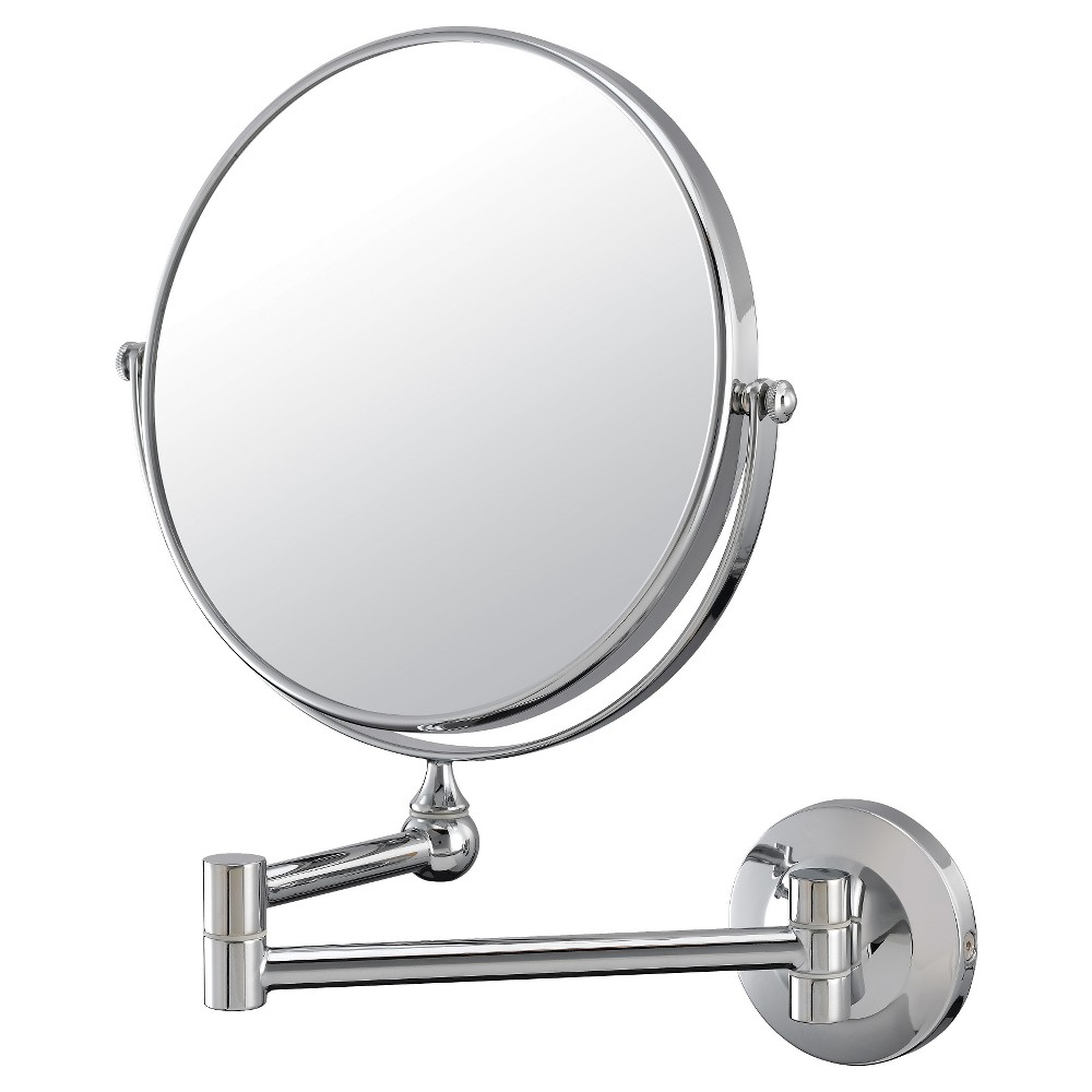 Image of 10X/1X Double-Sided Wall Magnified Makeup Bathroom Mirror Image Chrome - Aptations, Silver