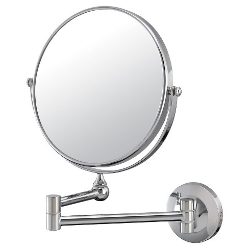 10X/1X Double-Sided Wall Magnified Makeup Bathroom Mirror Image Chrome - Aptations - image 1 of 1