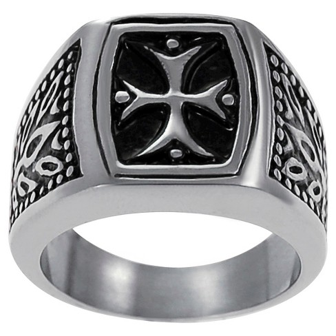 Men's Daxx Stainless Steel Band with Vintage Style Pattee Cross Design - image 1 of 5