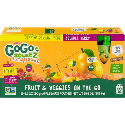 GoGo SqueeZ Variety Fruit and Veggies Applesauce On-The-Go Pouch 12 pk