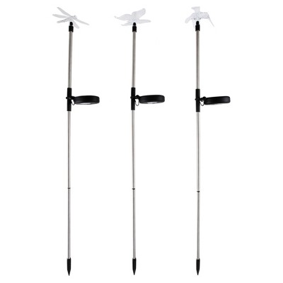 3pc Solar Outdoor LED Stake Butterfly, Hummingbird & Dragonfly Light - Pure Garden
