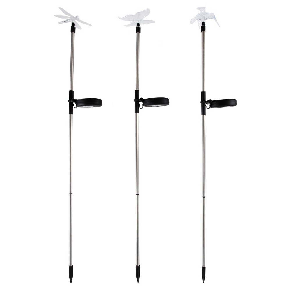3pc Solar Outdoor Led Stake Butterfly, Hummingbird & Dragonfly Light - Pure Garden, Clear