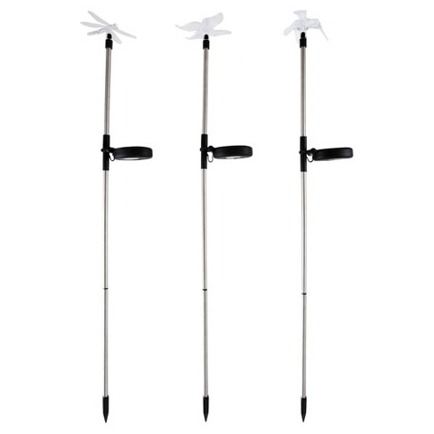 3pc Solar Outdoor LED Stake Butterfly, Hummingbird & Dragonfly Light - Pure Garden - image 1 of 4