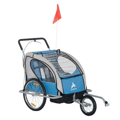 Aosom Elite 2-In-1 Three-Wheel Bike  Trailer & Jogger for Two Children with 2 Security Harnesses & Storage