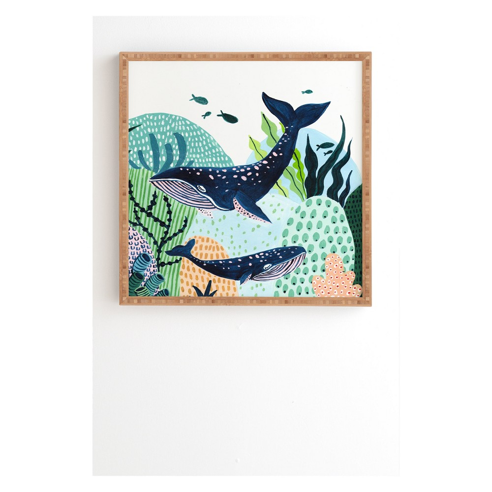 "Image of ""20"""" x 20"""" Ambers Textiles Blue Whale Family Framed Wall Art Green - society6"""
