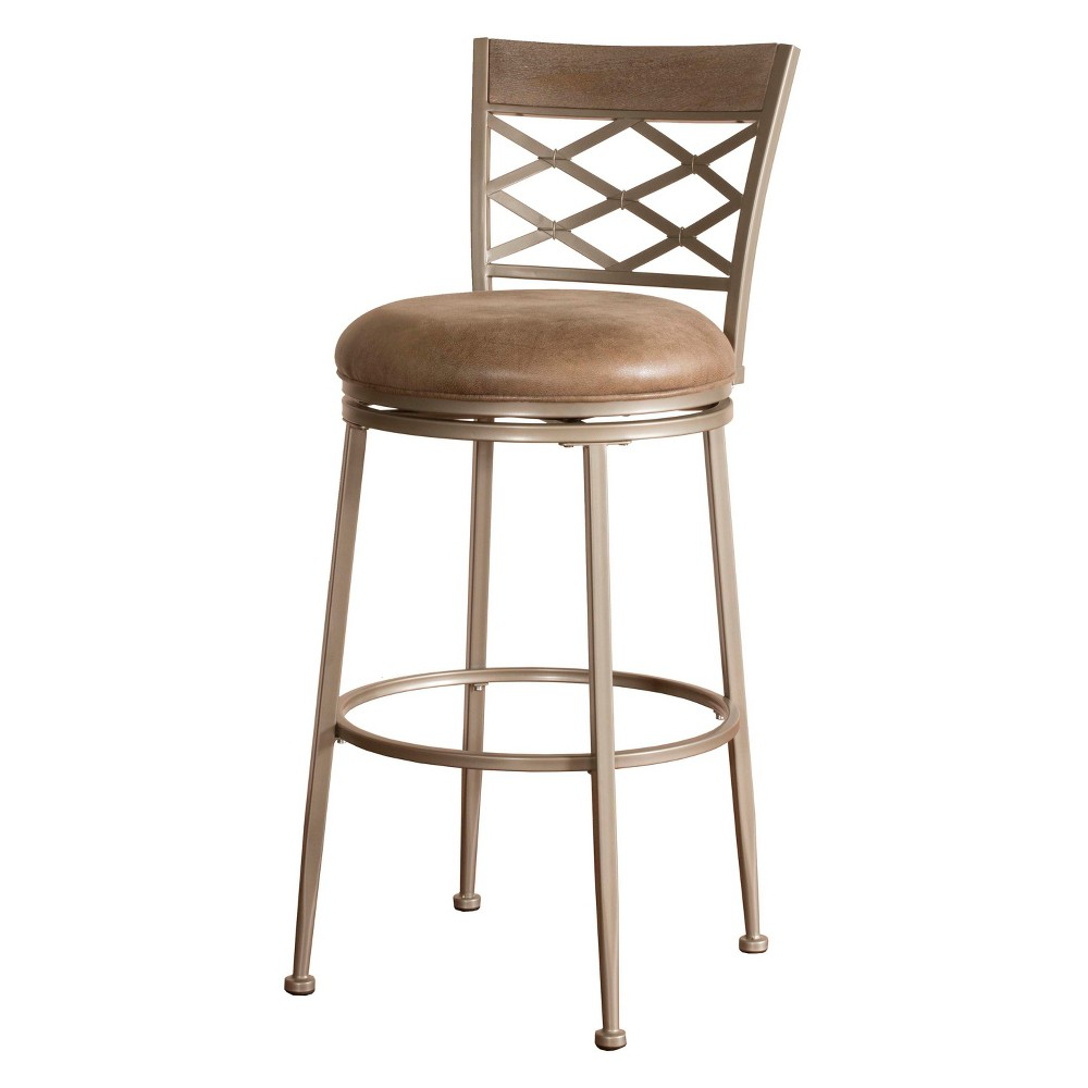 30 Hutchinson Swivel Bar Stool Pewter/Aged Ivory - Hillsdale Furniture, Gray