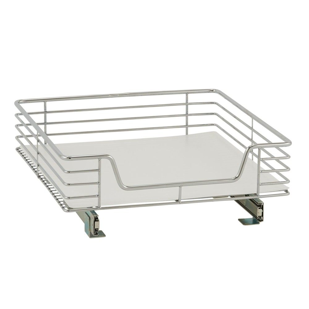 Image of Design Trend 1-Tier Single Basket Sliding Under - Cabinet Organizer 20 Extended Depth Chrome (Grey)