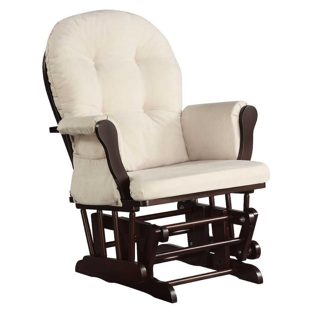 Dorel Rocker Glider, Brown The Dorel Asia glider rocker chair with espresso finish will be an ideal addition to your babys nursery. Made of solid hardwood, this espresso glider rocker is durable. It has a hidden ball-bearing mechanism that ensures a smooth gliding motion as you relax, nurse and lull your baby to sleep. Its seat cushion has a beige microfiber cover and 100 percent polyurethane foam pad for comfort. With backrest, contoured seat and polyester fiber-filled arm and back cushions, this rocker ensures maximum support for your body. This microfiber glider rocker can be spot cleaned to remove any stains or mess. Color: Brown. Gender: Unisex.