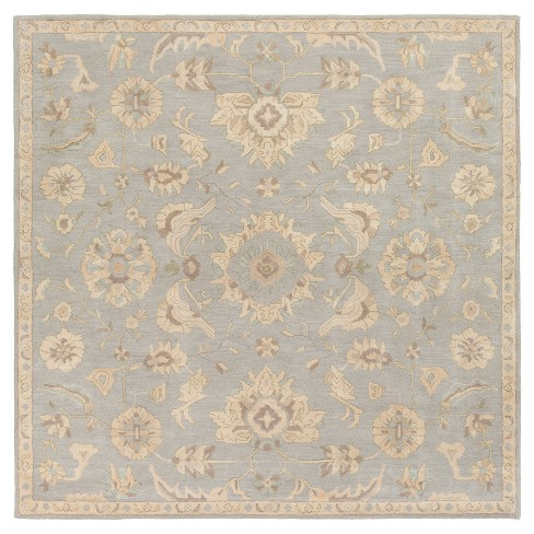 Light Gray Classic Tufted Square Area Rug - (4') - Surya - image 1 of 2