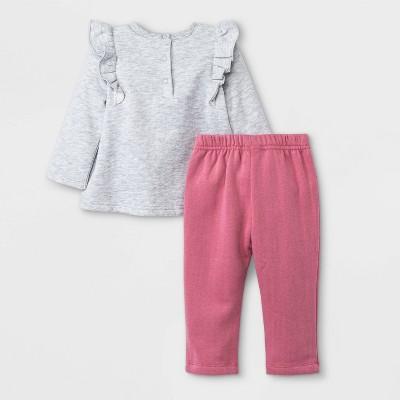 Baby Girls' 2pc Disney Princess Fleece Pullover and Jogger Set - Burgundy