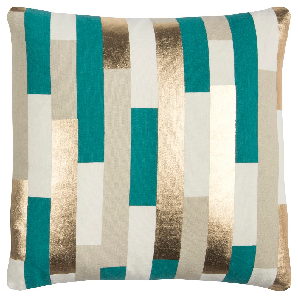 Image of Rachel Kate Stripe Throw Pillow Teal, Blue