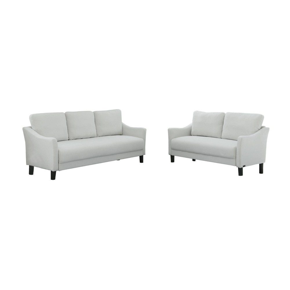 Outstanding Cleo Fabric Sofa And Loveseat Gray Abbyson Living Gray White Gmtry Best Dining Table And Chair Ideas Images Gmtryco