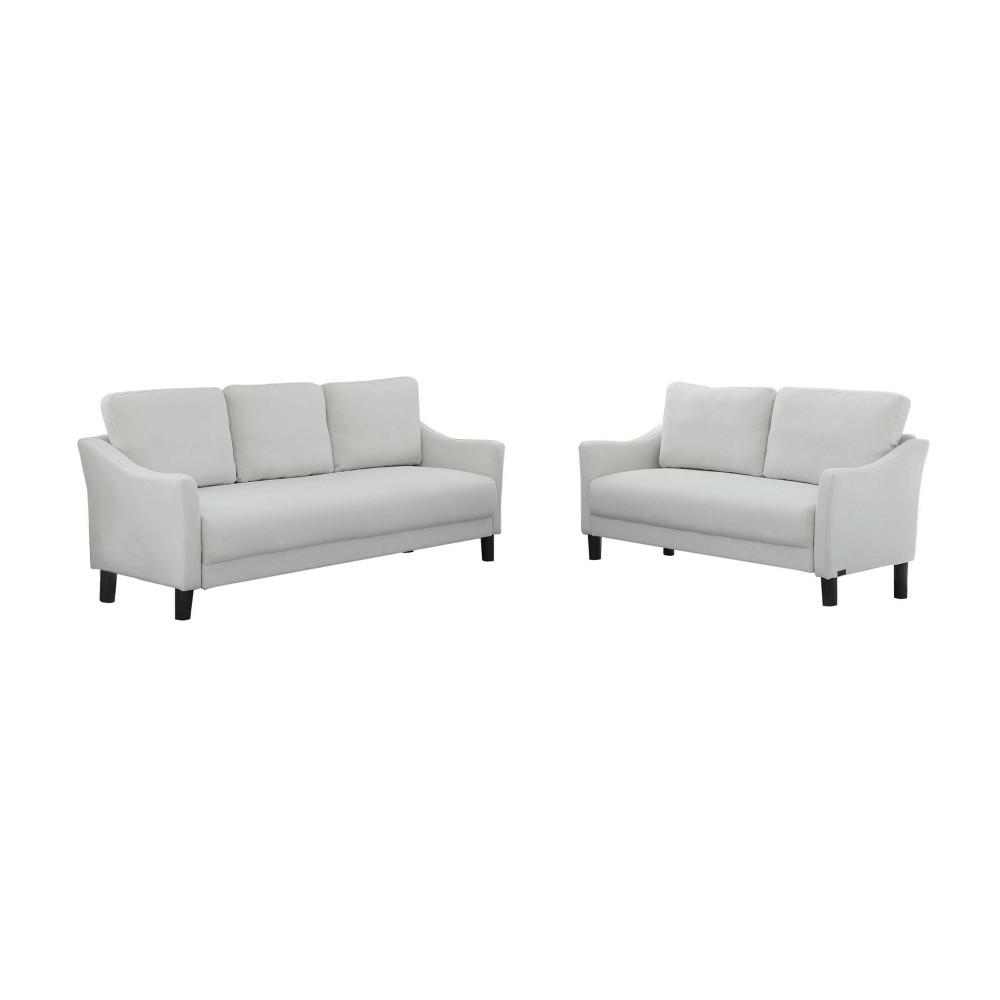 Image of 2pc Cleo Fabric Sofa & Loveseat Set Gray - Abbyson Living, White Gray