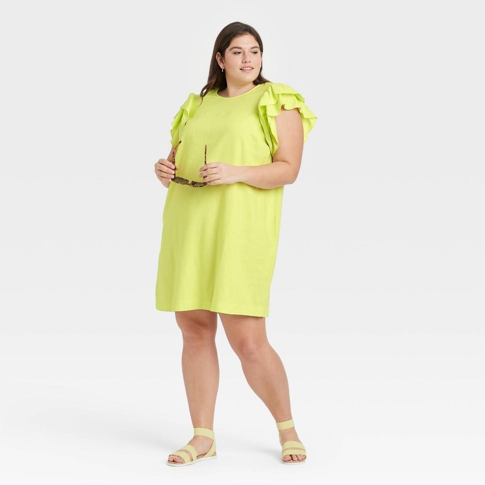 Women 39 S Plus Size Ruffle Short Sleeve Dress A New Day 8482 Light Green 1x