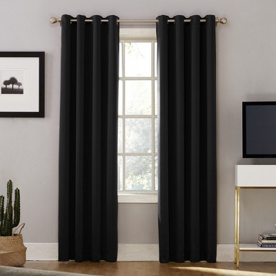 Oslo Theater Grade Extreme Blackout Grommet Curtain Panel Black 52 x63  - No. 918