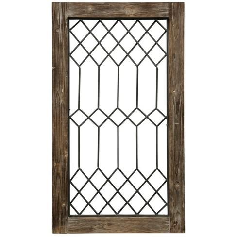 41 5 Wood Framed Metal Grate 1 Decorative Wall Art Beige