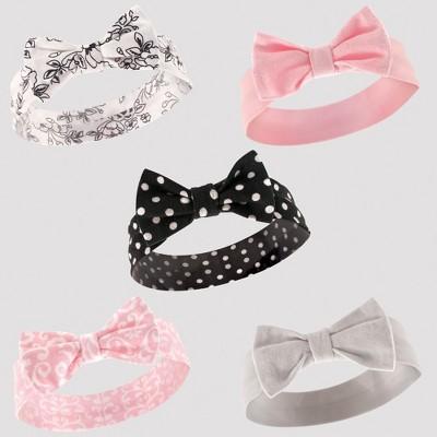 Hudson Baby Girls' 5pk Headband Set - Black/White 0-12M