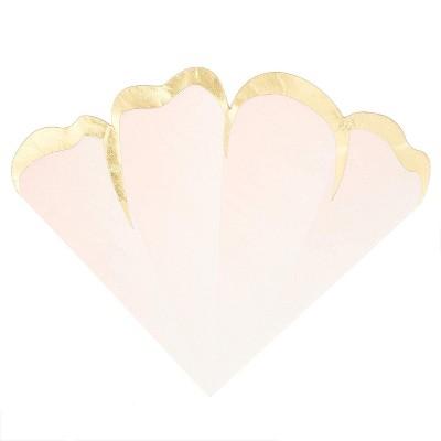 Blue Panda 50-Pack Flower Petal Disposable Paper Napkins Pink & Gold Foil Party Supplies