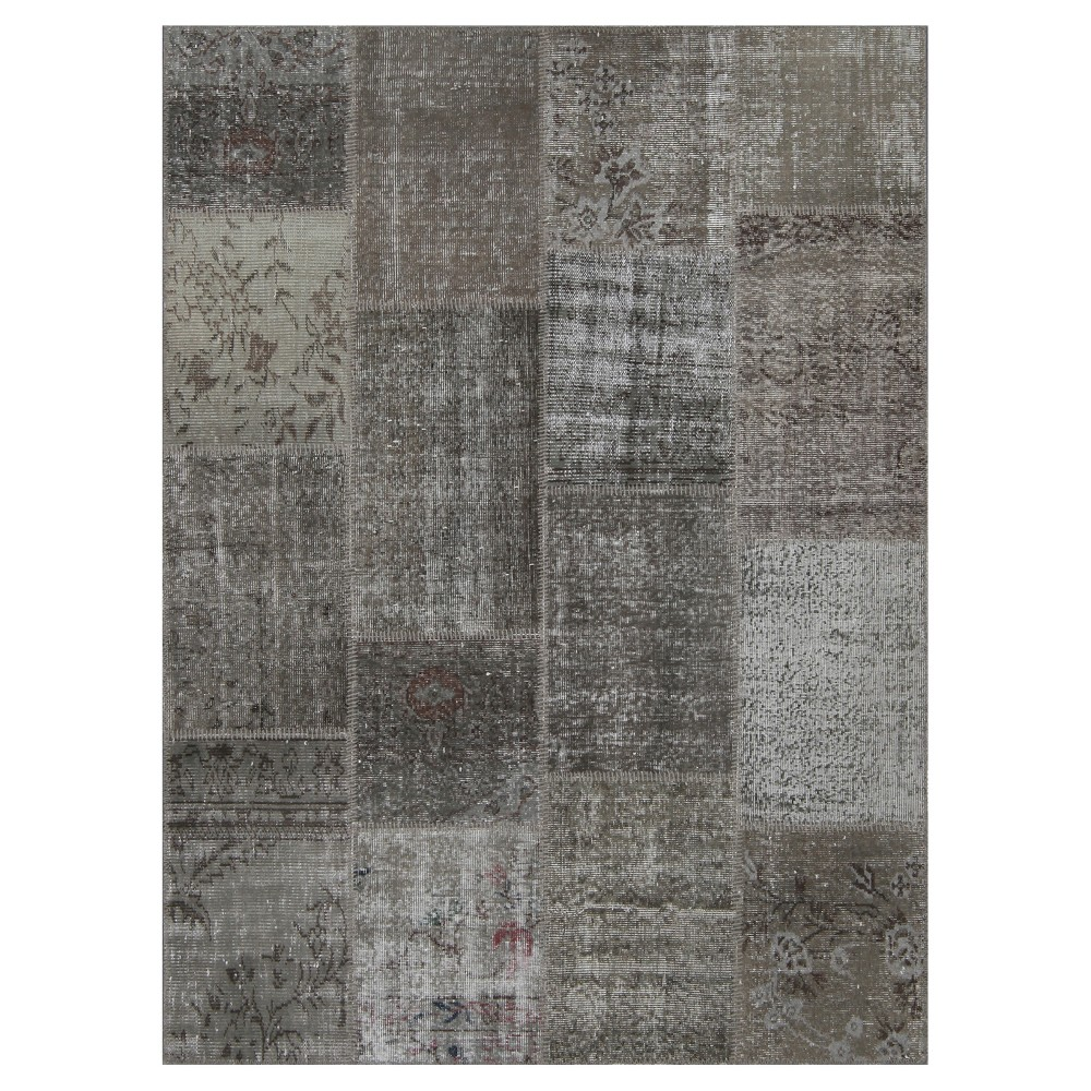 "Image of ""Antique Patchwork Area Rug Stone 5'3""""x7'3"""", Gray"""