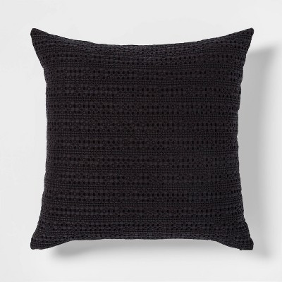 Oversize Square Washed Waffle Throw Pillow Black - Threshold™