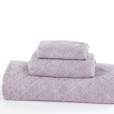 Lakeside Cotton Terry Quick Dry Bathroom Towel Set with Diamond Weave - 3 Pieces