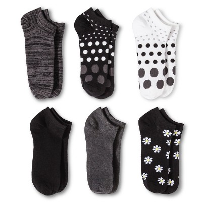 Women's Daisy 6pk Low Cut Socks - Xhilaration™ Black 4-10