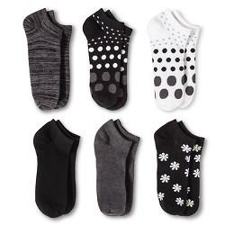 Women's Daisy 6pk Low Cut Socks - Xhilaration™ Black One Size