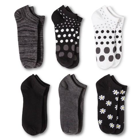 Women's Daisy 6pk Low Cut Socks - Xhilaration™ Black One Size - image 1 of 1