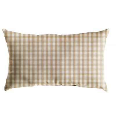 """20"""" Plaid Outdoor Throw Pillow Beige/White"""
