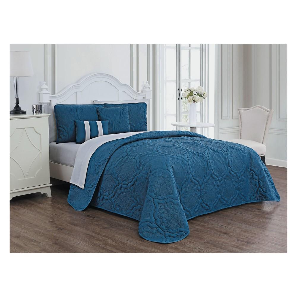 9pc King Nolie Quilt Set Blue/Light Grey - Avondale Manor, Atlantic