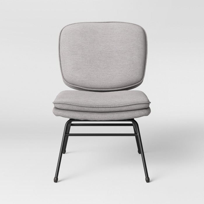 Fletcher Slipper Chair with Black Metal Legs Light Gray - Project 62™ - image 1 of 4