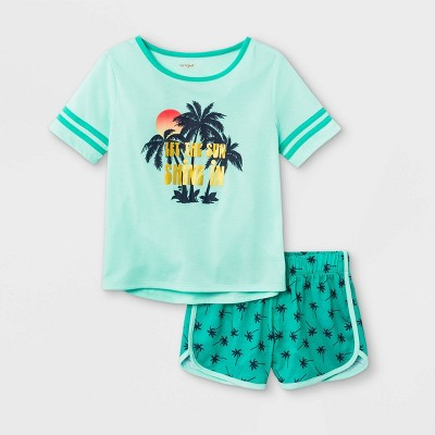 Girls' 2pc Tropical Pajama Set - Cat & Jack™ Green