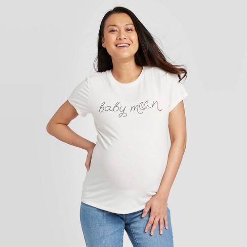 Maternity Short Sleeve Babymoon Graphic T-Shirt - Isabel Maternity by Ingrid & Isabel™ Beige - image 1 of 2