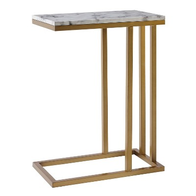 Marmo C Shape Table Faux Marble/Brass - Versanora