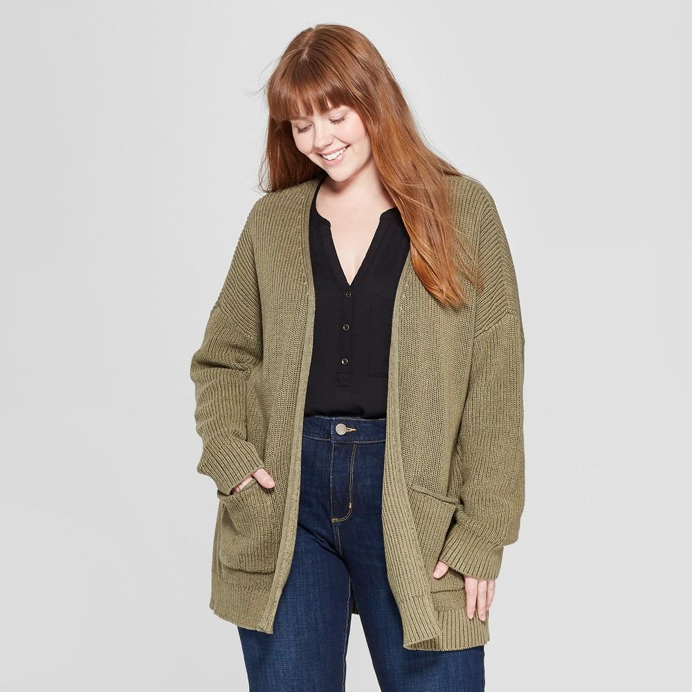 Women's Plus Size Long Sleeve Open Layering Cardigan - Universal Thread Olive (Green) 3X