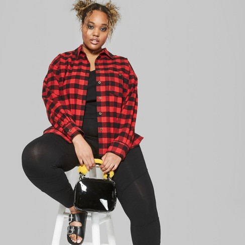 a6287fecb3bed Women s Plus Size Plaid Long Sleeve Flannel Button-Down Shirt - Wild Fable™