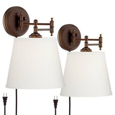 360 Lighting Swing Arm Wall Lamps Set of 2 Oil Rubbed Bronze Plug-In Light Fixture Cream Empire Shade for Bedroom Bedside Reading