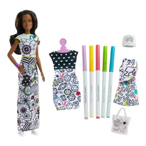 Barbie Crayola Color In Fashions Nikki Doll Target