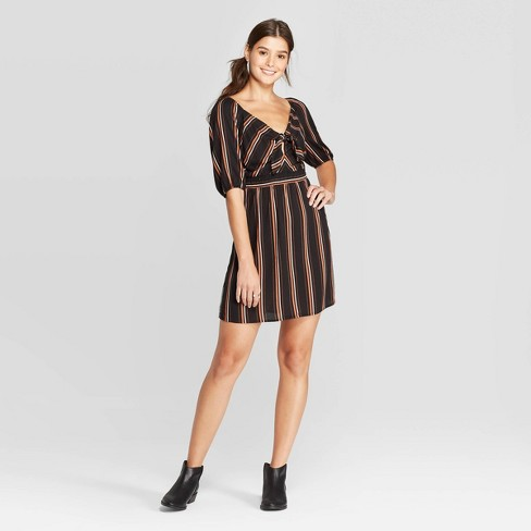 Women's Striped 3/4 Sleeve Sweetheart Neck Tie Front Dress - Xhilaration™ Black - image 1 of 2