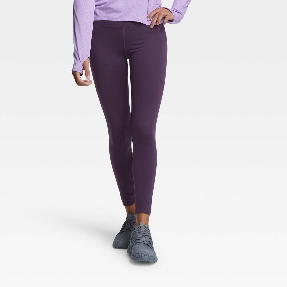 Girls' Side Pocket Leggings - All in Motion Dark Violet XXL, Dark Purple was $20.0 now $14.0 (30.0% off)
