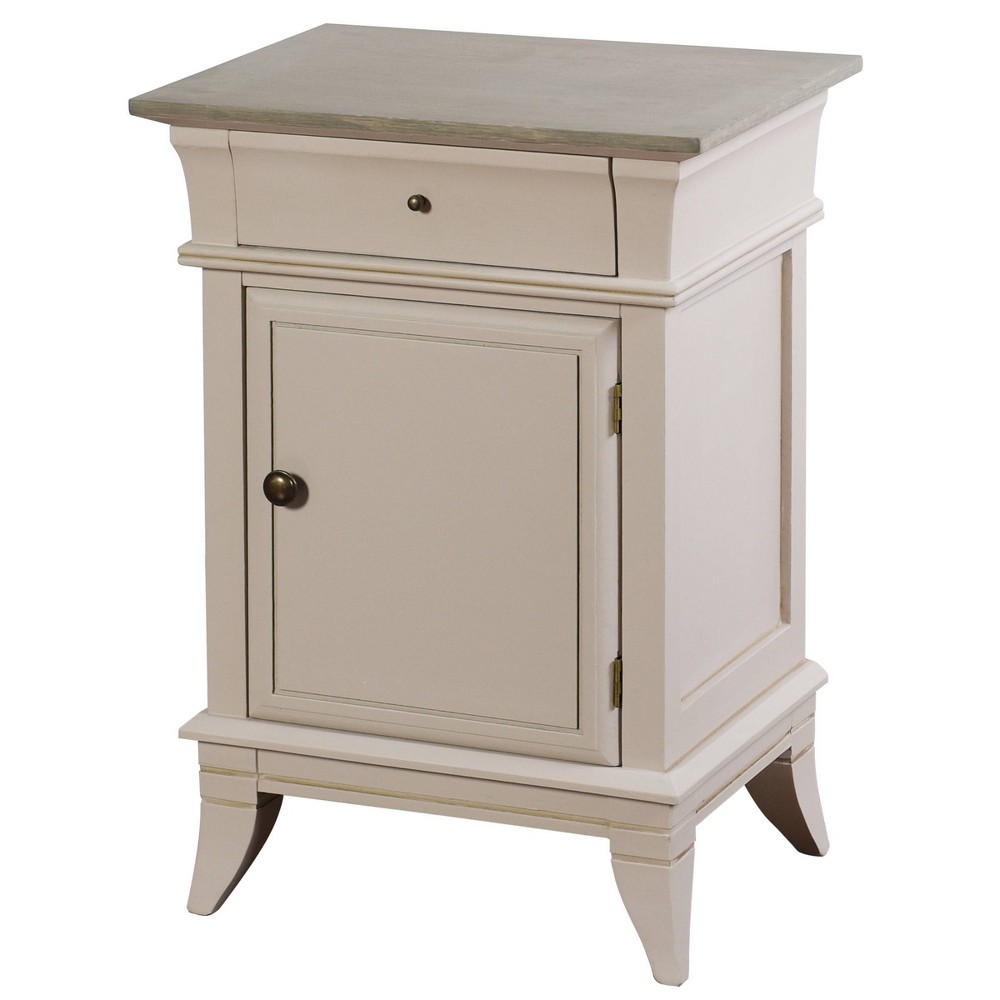 Image of Ivan Side Cabinet with Drawer Light Gray/Brass - Stylecraft